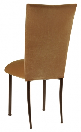 Gold Velvet Chair Cover and Cushion on Brown legs (1)