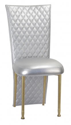 Silver Quilted Leatherette Jacket and Silver Stretch Vinyl Boxed Cushion on Gold Legs (2)