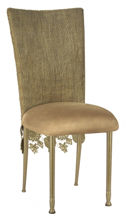 Burlap Chantilly 3/4 Chair Cover with Camel Suede Cushion on Gold Legs (2)