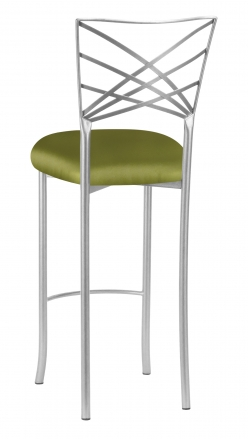 Silver Fanfare Barstool with Lime Satin Cushion (1)