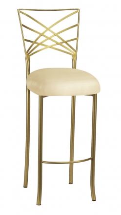 Gold Fanfare Barstool with Champagne Metallic Knit Cushion (2)