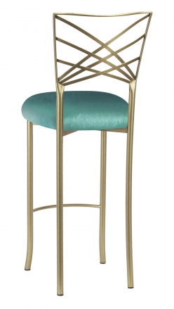 Gold Fanfare Barstool with Turquoise Velvet Cushion (1)