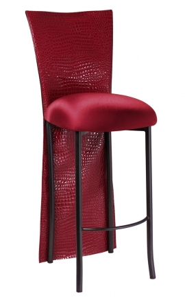 Red Croc Barstool Jacket with Cranberry Stretch Knit Cushion on Brown Legs (2)