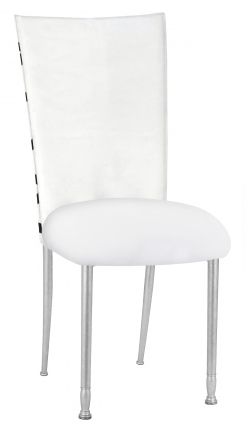 FWY Chair Cover with White Suede Cushion on Silver Legs (2)