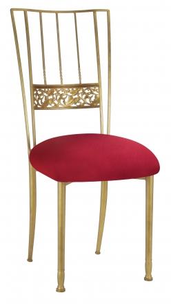 Gold Bella Fleur with Cranberry Stretch Knit Cushion (2)