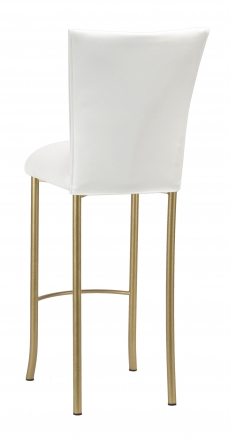 White Leatherette Barstool Cover and Cushion on Gold Legs (1)