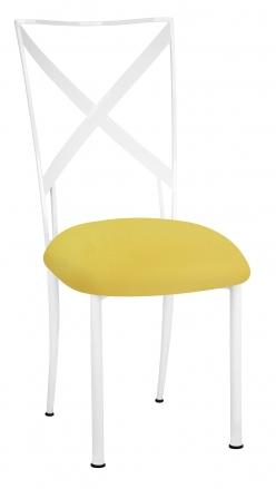 Simply X White with Bright Yellow Velvet Cushion (2)
