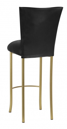 Black Leatherette Barstool Cover and Cushion on Gold Legs (1)