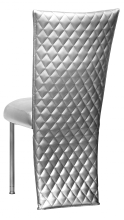 Silver Quilted Leatherette Jacket with Silver Stretch Vinyl Boxed Cushion on Silver Legs (1)