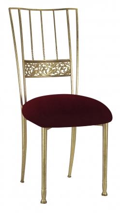 Gold Bella Fleur with Cranberry Velvet Cushion (2)