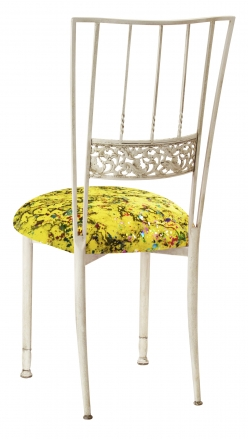 Ivory Bella Fleur with Yellow Paint Splatter Knit Cushion (1)
