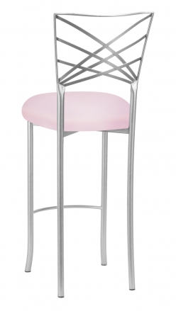 Silver Fanfare Barstool with Soft Pink Knit Cushion (1)