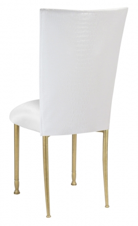 White Croc Chair Cover with White Stretch Knit Cushion on Gold Legs (1)
