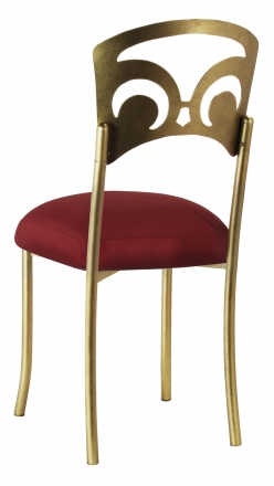 Gold Fleur de Lis with Burnt Red Dupioni Boxed Cushion (1)