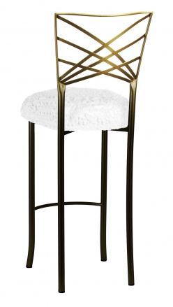 Two Tone Fanfare Barstool with White Lace over White Knit Cushion (1)