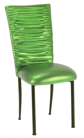 Chloe Metallic Lime Stretch Knit Chair Cover and Cushion on Brown Legs (2)