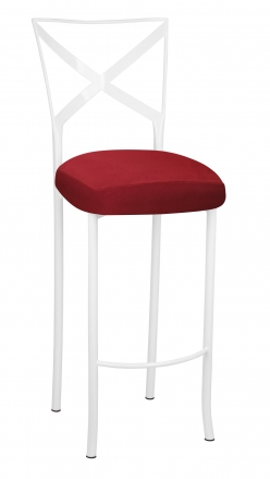 Simply X White Barstool with Rhino Red Suede Boxed Cushion (2)