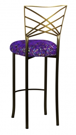 Two Tone Fanfare Barstool with Purple Paint Splatter Knit Cushion (1)