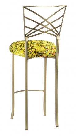 Gold Fanfare Barstool with Yellow Paint Splatter Knit Cushion (1)