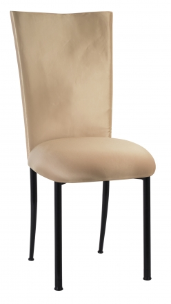 Champagne Deore Chair Cover with Buttercream Cushion on Black Legs (2)