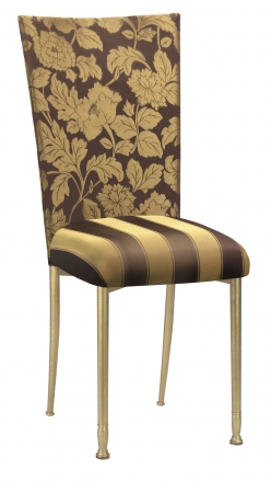 Gold and Brown Damask Chair Cover with Gold and Brown Stripe Cushion with Gold Legs (2)