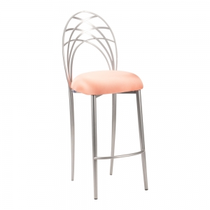 Silver Piazza Barstool with Cantaloupe Stretch Knit Cushion (2)
