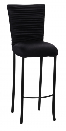 Chloe Black Stretch Knit Barstool Cover with Rhinestone Accent Band and Cushion on Black Legs (2)