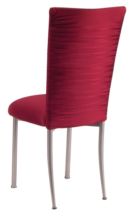 Chloe Cranberry Stretch Knit Chair Cover and Cushion on Silver Legs (1)