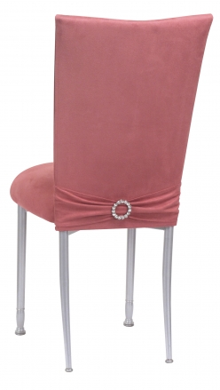 Raspberry Suede Chair Cover with Jewel Belt and Cushion on Silver Legs (1)