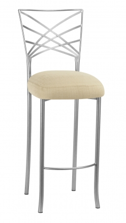Silver Fanfare Barstool with Parchment Linette Cushion (2)