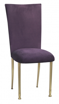 Lilac Suede Chair Cover and Cushion on Gold Legs (2)