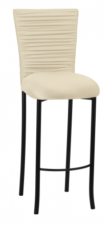 Chloe Ivory Stretch Knit Barstool Cover with Rhinestone Accent Band and Cushion on Black Legs (2)
