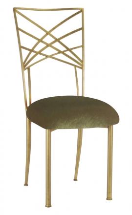 Gold Fanfare with Olive Velvet Cushion (2)