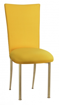Chloe Bright Yellow Stretch Knit Chair Cover and Cushion on Gold Legs (2)
