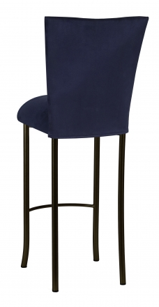 Navy Blue Suede Barstool Cover and Cushion on Brown Legs (1)