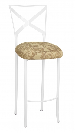 Simply X White Barstool with Ravena Chenille Boxed Cushion (2)
