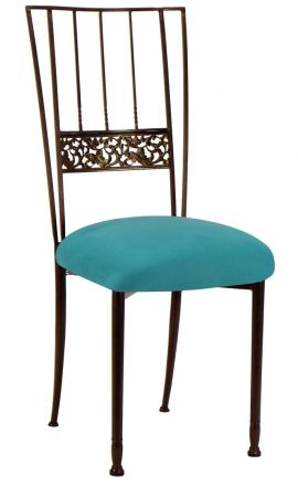 Mahogany Bella Fleur with Turquoise Suede Cushion (2)
