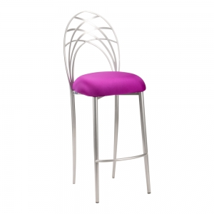 Silver Piazza Barstool with Plum Stretch Knit Cushion (2)