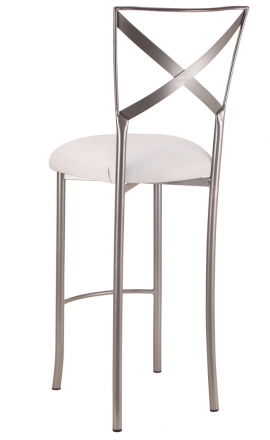 Simply X Barstool with White Leatherette Cushion (1)