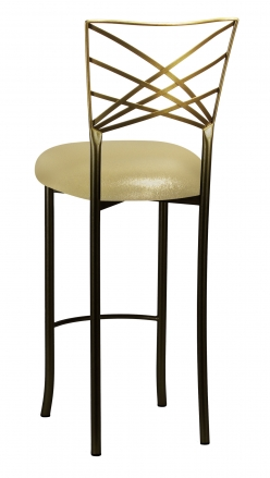 Two Tone Fanfare Barstool with Metallic Gold Knit Cushion (1)