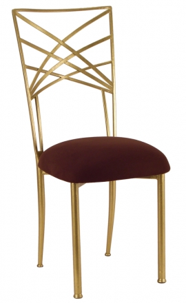 Gold Fanfare with Chocolate Suede Cushion Front (2)