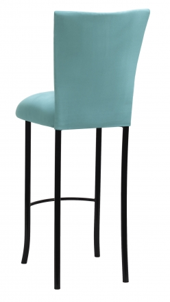 Turquoise Suede Barstool Cover and Cushion on Black Legs (1)