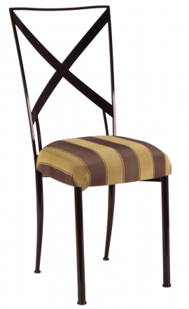 Blak. with Gold and Brown Stripe Cushion (2)