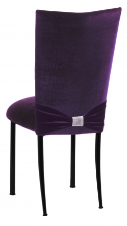 Deep Purple Velvet Chair Cover with Rhinestone Accent and Cushion on Black Legs (1)