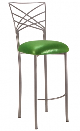 Silver Fanfare Barstool with Metallic Lime Cushion (2)