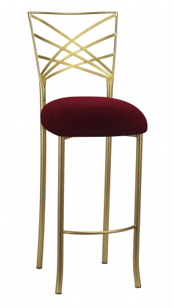 Gold Fanfare Barstool with Cranberry Velvet Cushion (2)