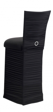 Chloe Black Stretch Knit Barstool Cover with Jewel Band, Cushion and Skirt (1)