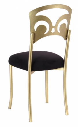 Gold Fleur de Lis with Black Suede Cushion (1)