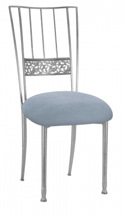 Silver Bella Fleur with Ice Blue Suede Cushion (2)