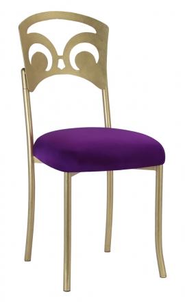 Gold Fleur de Lis with Plum Stretch Knit Cushion (2)